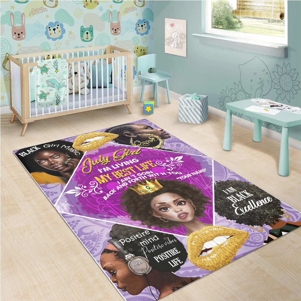 Personalized July Girl I'm Living My Best Life Pattern 2 Vintage Area Rug Anti-Skid Floor Carpet For Living Room Dinning Room Bedroom Office