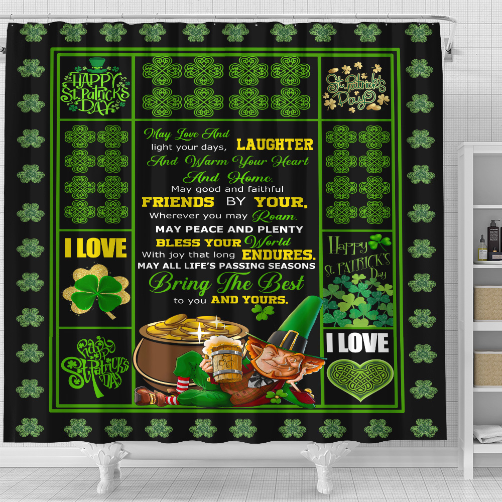 Personalized Lovely Shower Curtain St Patrick's Day May Love And Laughter Ligh Your Days Pattern 2 Set 12 Hooks Decorative Bath Modern Bathroom Accessories Machine Washable
