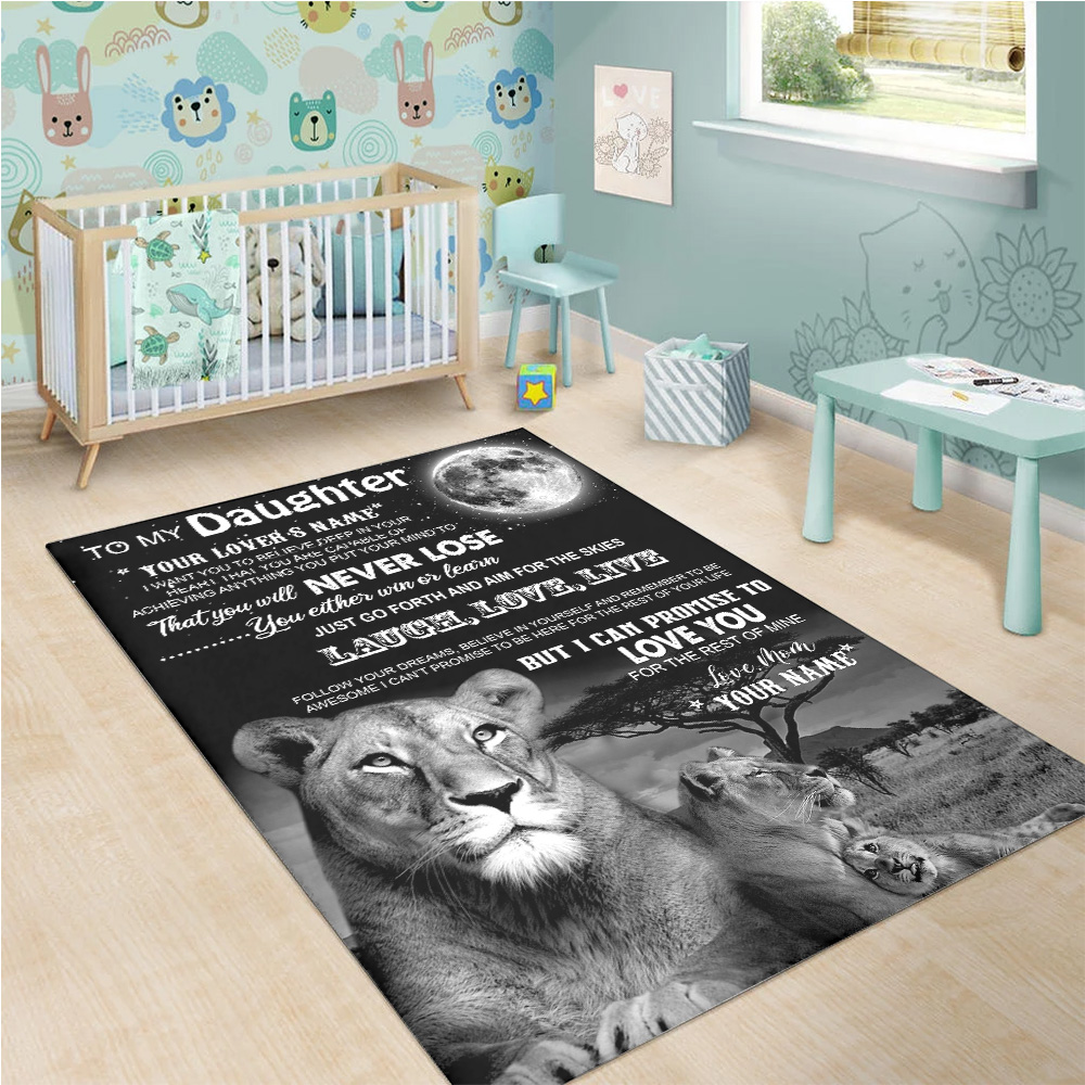 Personalized Floor Area Rugs To My Lion Daughter I Can Promise To Love You For The Rest Of Mine Indoor Home Decor Carpets Suitable For Children Living Room Bedroom Birthday Christmas Aniversary