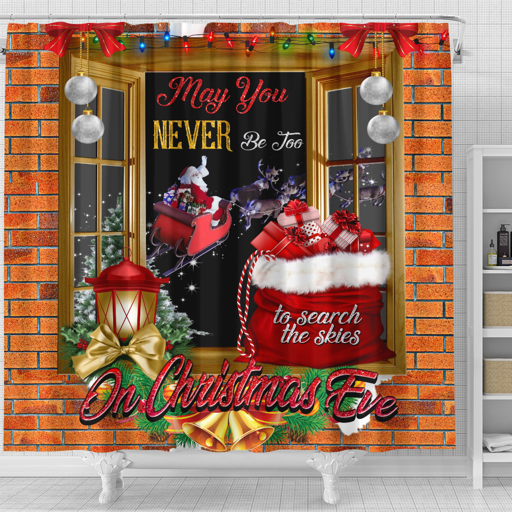 Personalized Shower Curtain 71 X 71 Inch May You Never Be Too Grown Up To Search The Skies On Christmas Eve Pattern 1  Set 12 Hooks Decorative Bath Modern Bathroom Accessories Machine Washable