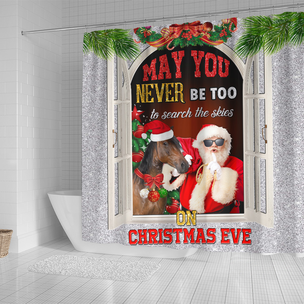 Personalized Shower Curtain 71 X 71 Inch May You Never Be Too Grown Up To Search The Skies On Christmas Eve Pattern 2  Set 12 Hooks Decorative Bath Modern Bathroom Accessories Machine Washable