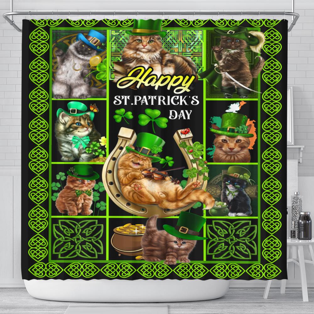 Personalized Lovely Shower Curtain Cat Irish Happy St Patrick's Day Pattern 1 Set 12 Hooks Decorative Bath Modern Bathroom Accessories Machine Washable
