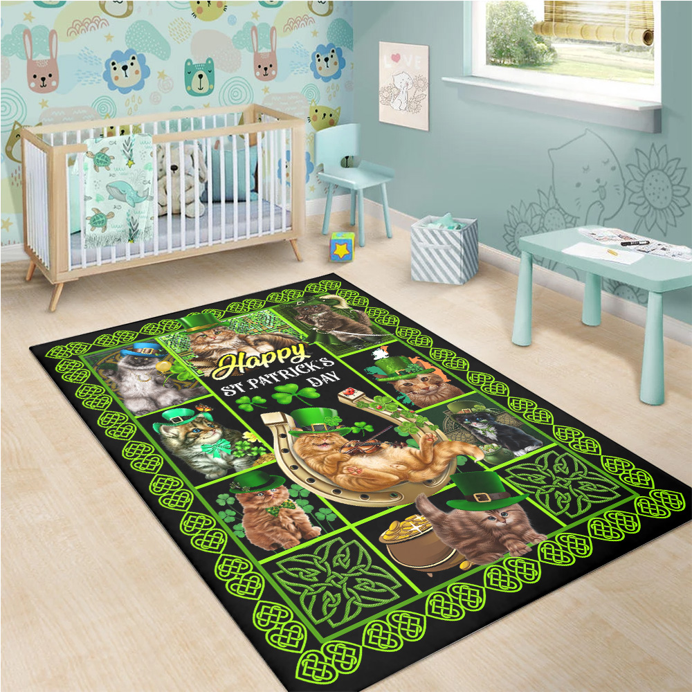 Personalized Lovely Rectangle Rug Cat Irish Happy St Patrick's Day Pattern 1 Vintage Area Rug Anti-Skid Floor Carpet For Living Room Dinning Room Bedroom Office