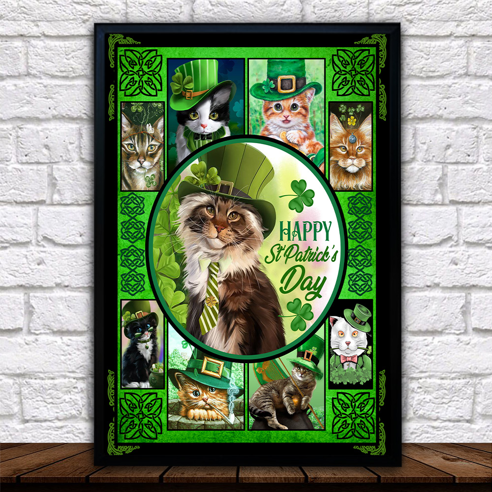 Personalized Lovely Wall Art Poster Cat Irish Happy St Patrick's Day Pattern 2 Prints Decoracion Wall Art Picture Living Room Wall
