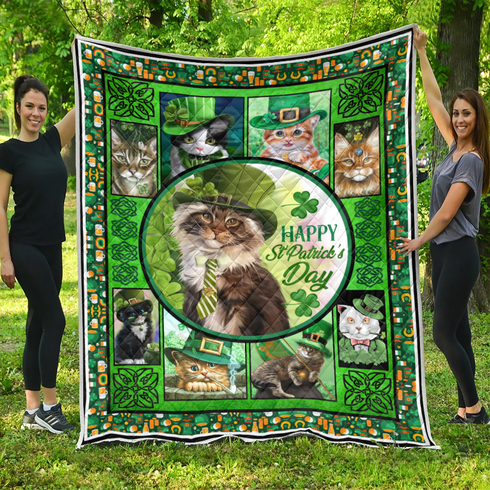 Personalized Lovely Quilt Throw Blanket Cat Irish Happy St Patrick's Day Pattern 2 Lightweight Super Soft Cozy For Decorative Couch Sofa Bed