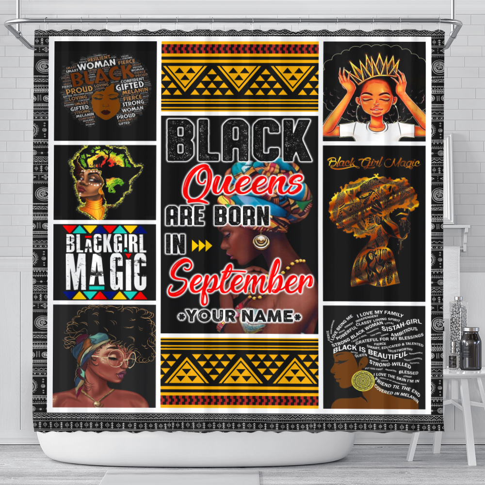 Personalized Shower Curtain Black Queens Are Born In September Pattern 1 Set 12 Hooks Decorative Bath Modern Bathroom Accessories Machine Washable