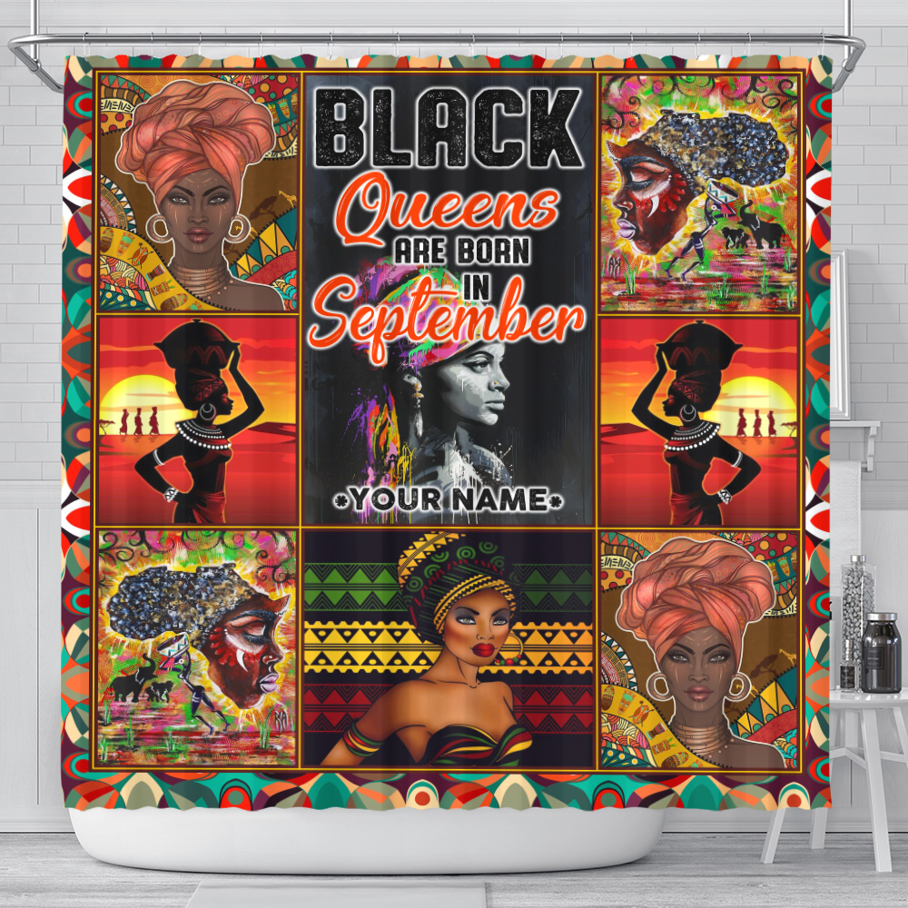 Personalized Shower Curtain Black Queens Are Born In September Pattern 2 Set 12 Hooks Decorative Bath Modern Bathroom Accessories Machine Washable