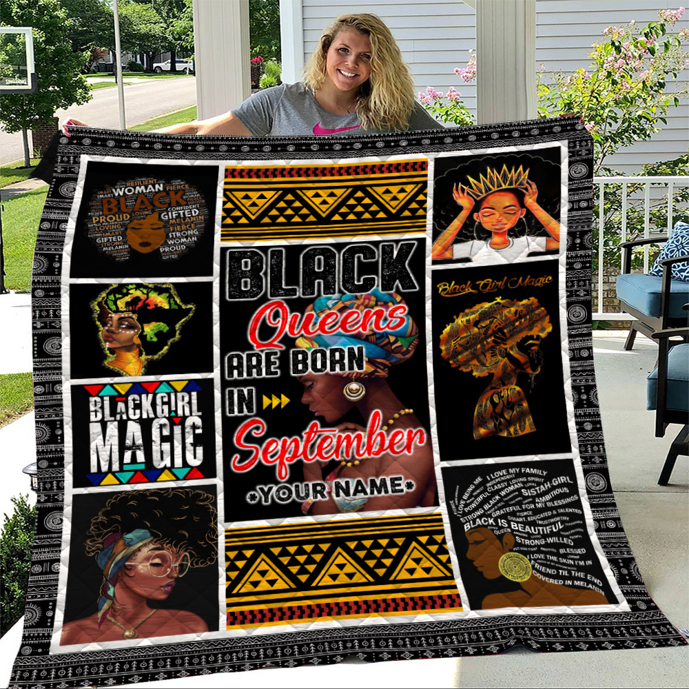 Personalized Quilt Throw Blanket Black Queens Are Born In September Pattern 1 Lightweight Super Soft Cozy For Decorative Couch Sofa Bed