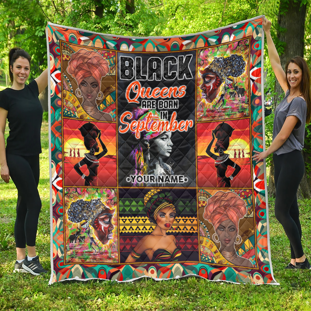 Personalized Quilt Throw Blanket Black Queens Are Born In September Pattern 2 Lightweight Super Soft Cozy For Decorative Couch Sofa Bed