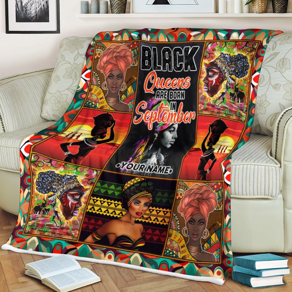 Personalized Fleece Throw Blanket Black Queens Are Born In September Pattern 2 Lightweight Super Soft Cozy For Decorative Couch Sofa Bed