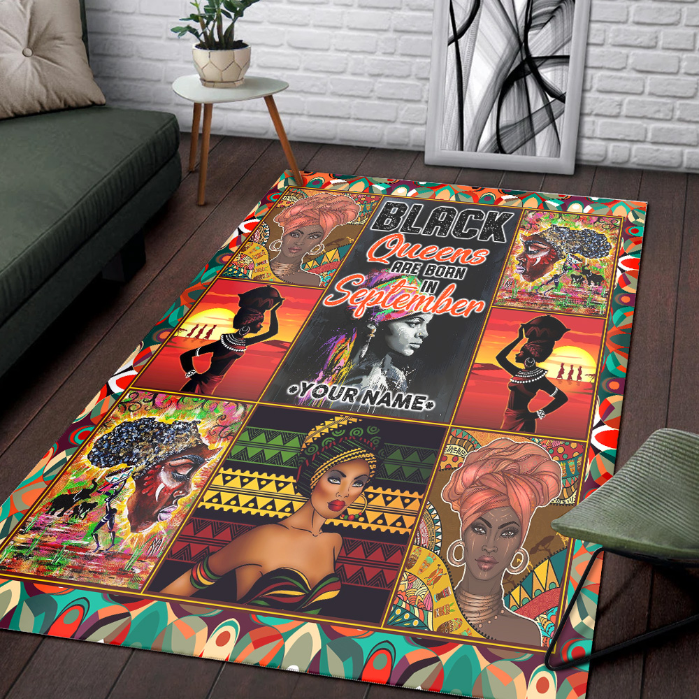 Personalized Black Queens Are Born In September Pattern 2 Vintage Area Rug Anti-Skid Floor Carpet For Living Room Dinning Room Bedroom Office