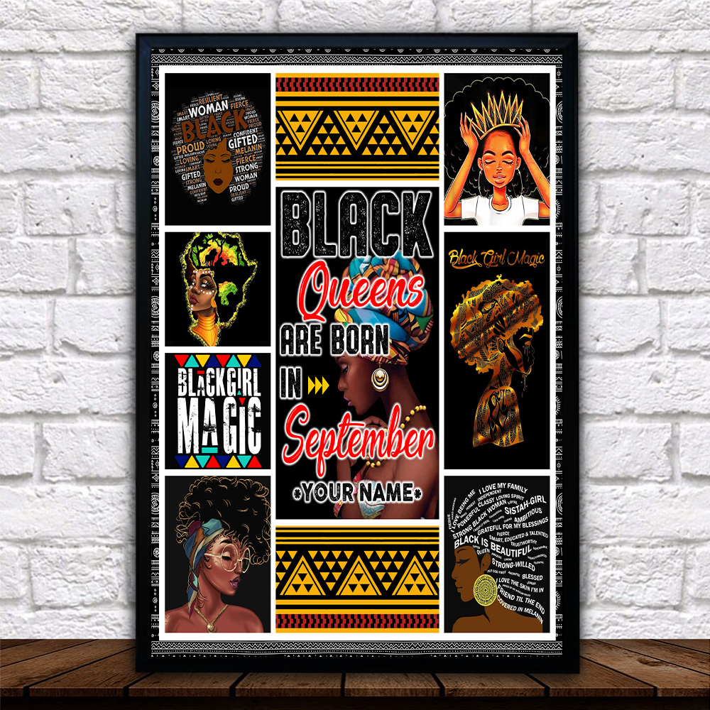 Personalized Wall Art Poster Black Queens Are Born In September Pattern 1 Prints Decoracion Wall Art Picture Living Room Wall
