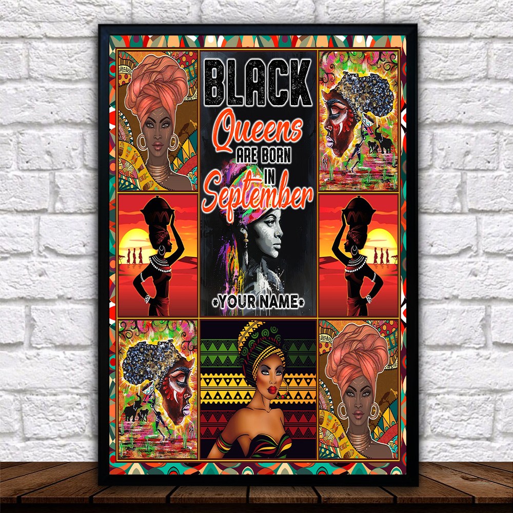 Personalized Wall Art Poster Black Queens Are Born In September Pattern 2 Prints Decoracion Wall Art Picture Living Room Wall