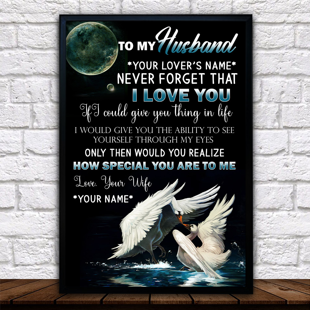 Personalized Wall Art Poster Canvas 1 Panel To My Husband Never Forget That I Love You How Special You Are To Me  Pattern 1 Great Idea For Living Home Decorations Birthday Christmas Aniversary