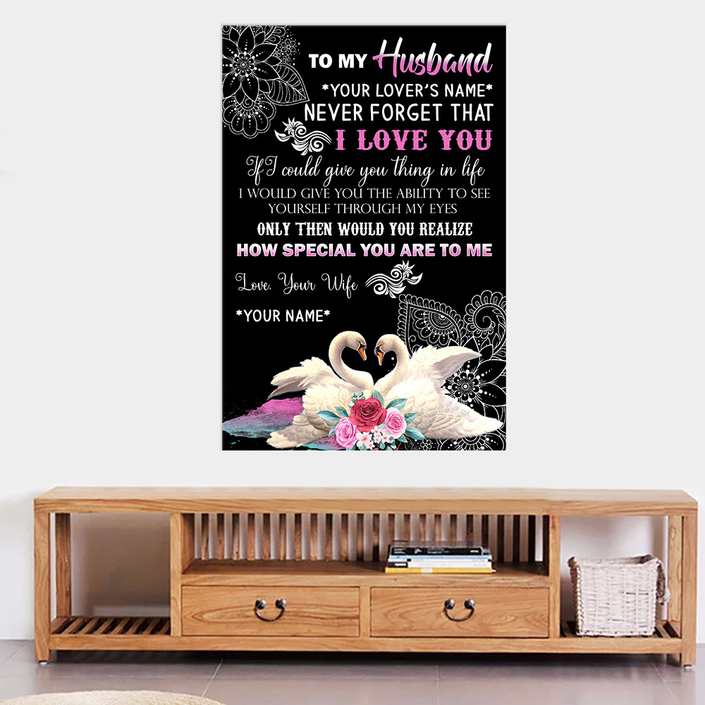 Personalized Wall Art Poster Canvas 1 Panel To My Husband Never Forget That I Love You How Special You Are To Me  Pattern 2 Great Idea For Living Home Decorations Birthday Christmas Aniversary