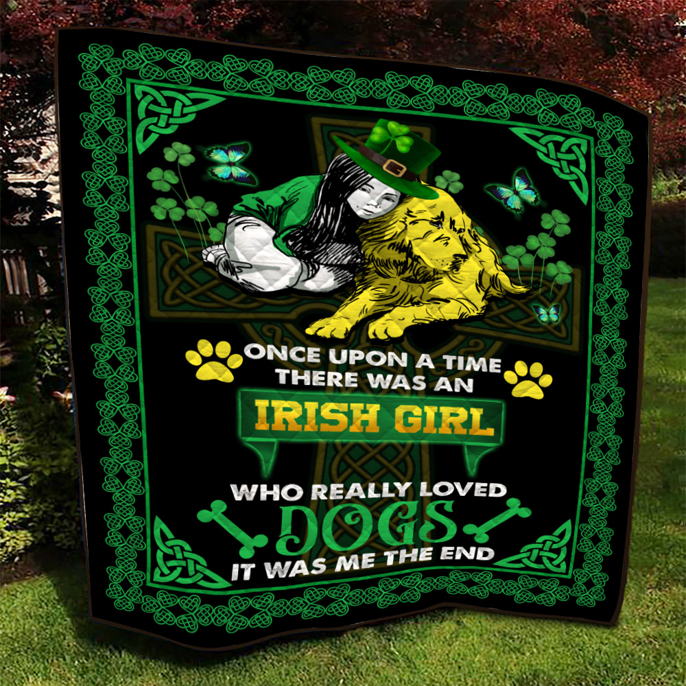 Personalized Lovely Quilt Throw Blanket St Patrick's Day Irish Girl Who Really Loved Dogs Pattern 2 Lightweight Super Soft Cozy For Decorative Couch Sofa Bed