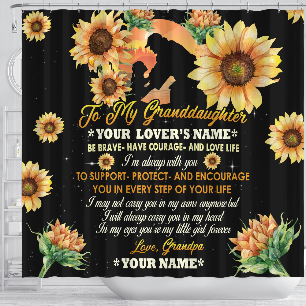 Personalized Shower Curtain 71 X 71 Inch To My Granddaughter Be Brave Have Courage And Love Life Pattern 1 Set 12 Hooks Decorative Bath Modern Bathroom Accessories Machine Washable