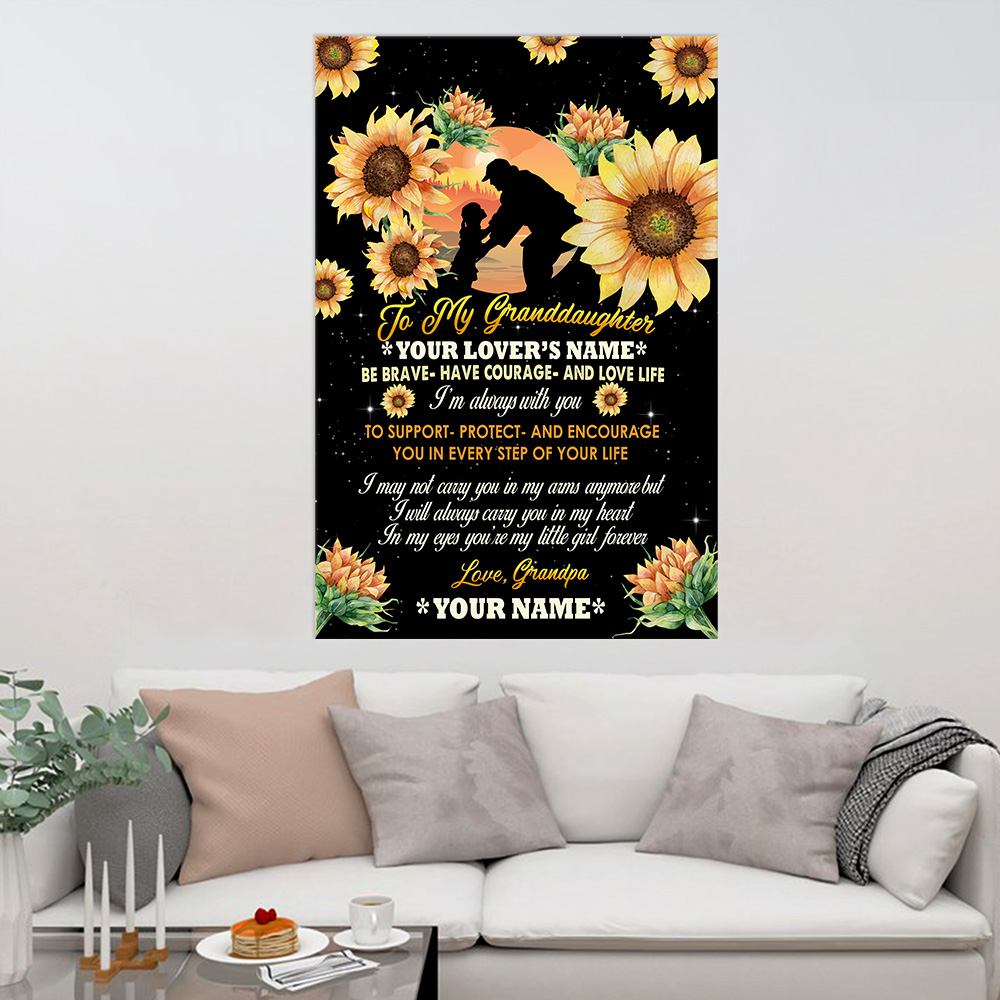 Personalized Wall Art Poster Canvas 1 Panel To My Granddaughter Be Brave Have Courage And Love Life Pattern 1 Great Idea For Living Home Decorations Birthday Christmas Aniversary