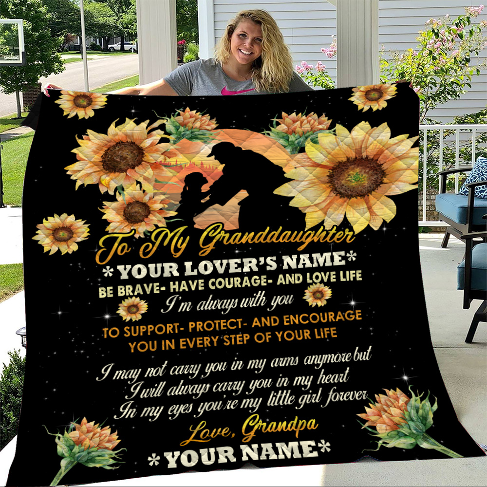 Personalized Quilt Throw Blanket To My Granddaughter Be Brave Have Courage And Love Life Pattern 1 Lightweight Super Soft Cozy For Decorative Couch Sofa Bed