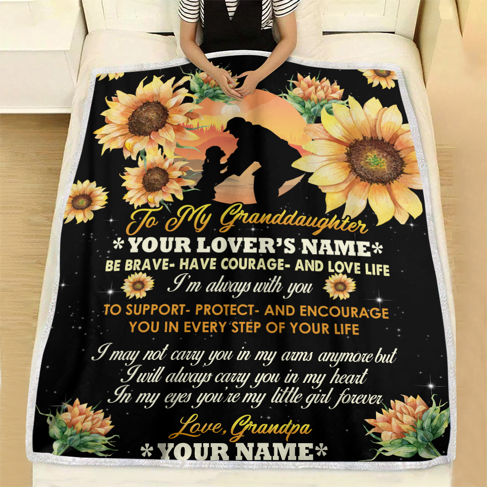 Personalized Fleece Throw Blanket To My Granddaughter Be Brave Have Courage And Love Life  Pattern 1 Lightweight Super Soft Cozy For Decorative Couch Sofa Bed