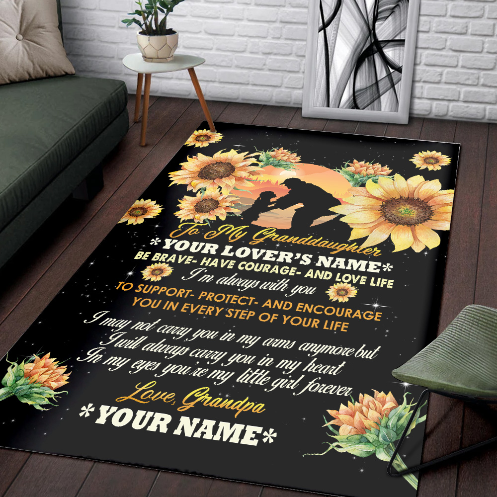 Personalized Floor Area Rugs To My Granddaughter Be Brave Have Courage And Love Life Pattern 1 Indoor Home Decor Carpets Suitable For Children Living Room Bedroom Birthday Christmas Aniversary