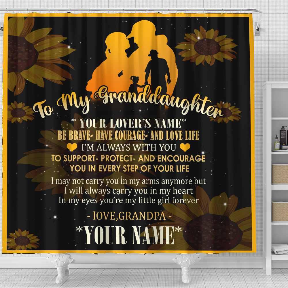 Personalized Shower Curtain 71 X 71 Inch To My Granddaughter Be Brave Have Courage And Love Life Pattern 2 Set 12 Hooks Decorative Bath Modern Bathroom Accessories Machine Washable