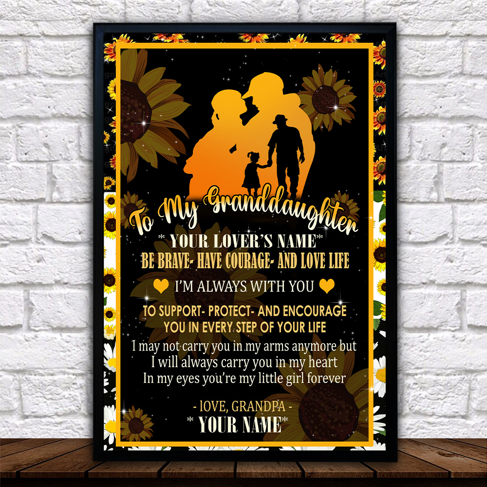 Personalized Wall Art Poster Canvas 1 Panel To My Granddaughter Be Brave Have Courage And Love Life Pattern 2 Great Idea For Living Home Decorations Birthday Christmas Aniversary