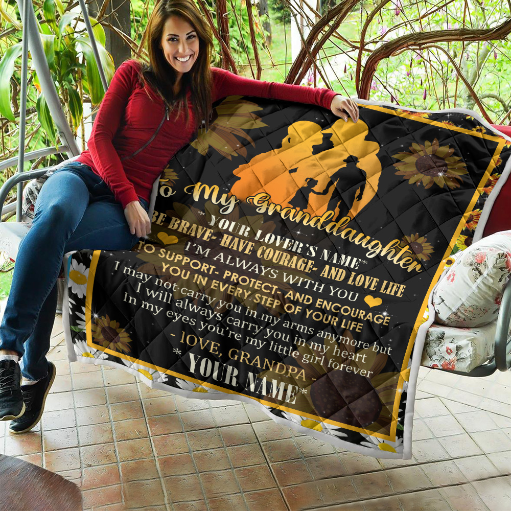 Personalized Quilt Throw Blanket To My Granddaughter Be Brave Have Courage And Love Life Pattern 2 Lightweight Super Soft Cozy For Decorative Couch Sofa Bed