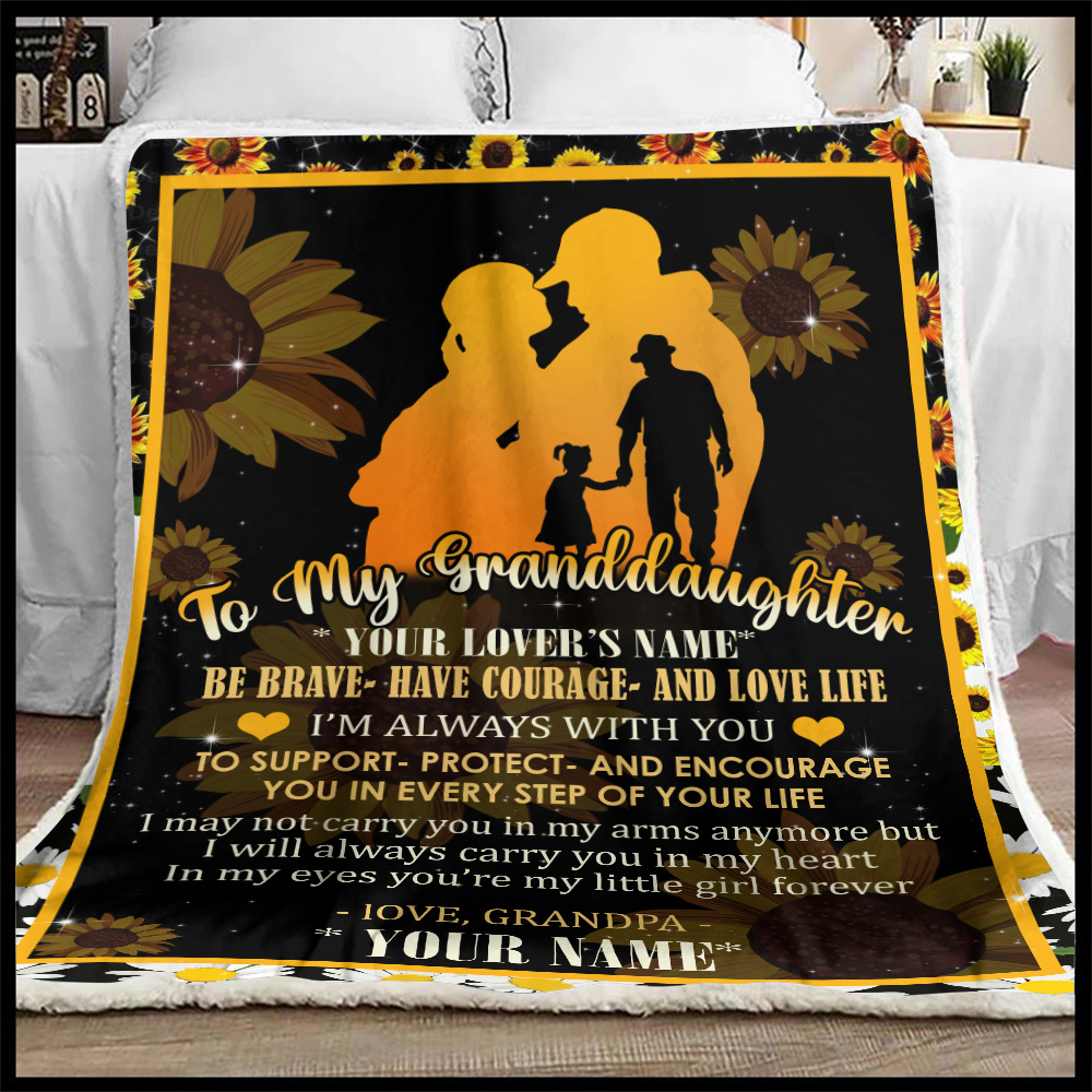 Personalized Fleece Throw Blanket To My Granddaughter Be Brave Have Courage And Love Life Pattern 2 Lightweight Super Soft Cozy For Decorative Couch Sofa Bed