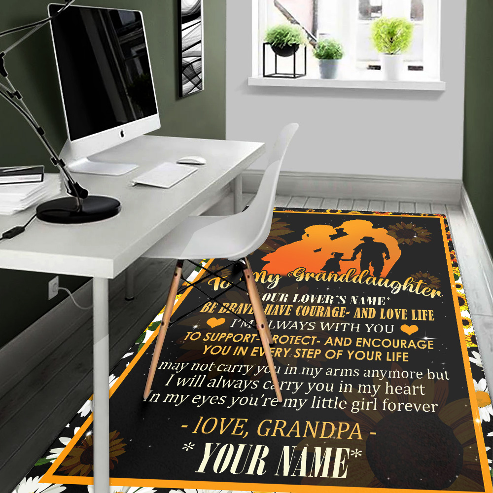 Personalized Floor Area Rugs To My Granddaughter Be Brave Have Courage And Love Life Pattern 2 Indoor Home Decor Carpets Suitable For Children Living Room Bedroom Birthday Christmas Aniversary