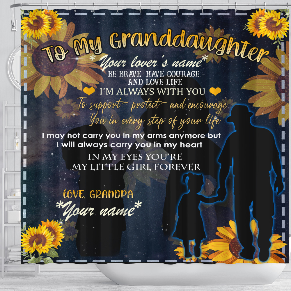 Personalized Shower Curtain 71 X 71 Inch To My Granddaughter Be Brave Have Courage And Love Life Pattern 3 Set 12 Hooks Decorative Bath Modern Bathroom Accessories Machine Washable