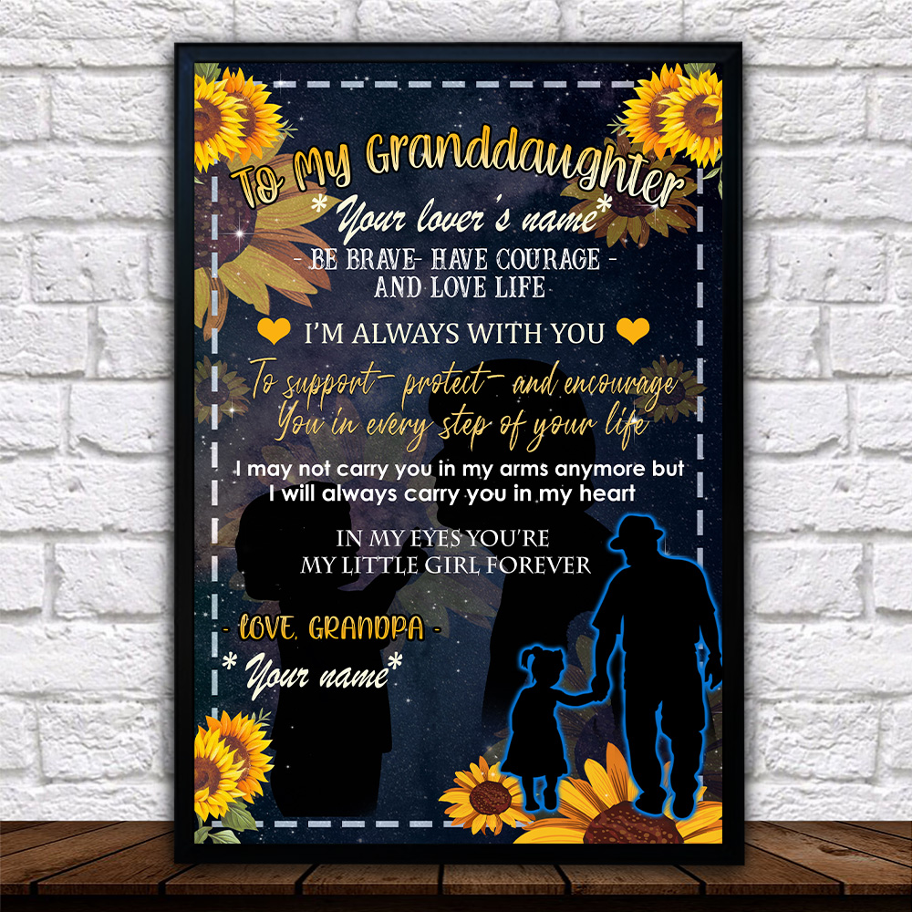 Personalized Wall Art Poster Canvas 1 Panel To My Granddaughter Be Brave Have Courage And Love Life Pattern 3 Great Idea For Living Home Decorations Birthday Christmas Aniversary