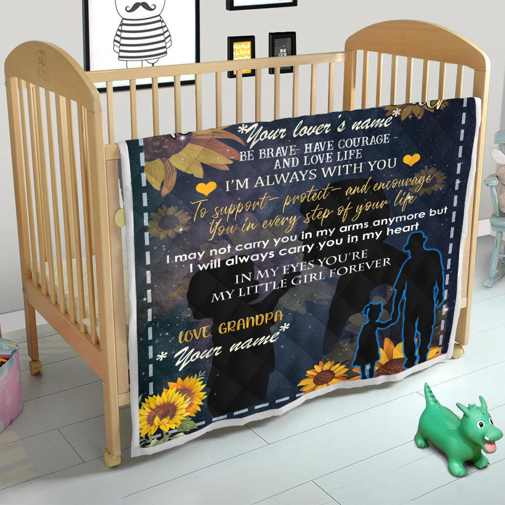 Personalized Quilt Throw Blanket To My Granddaughter Be Brave Have Courage And Love Life Pattern 3 Lightweight Super Soft Cozy For Decorative Couch Sofa Bed