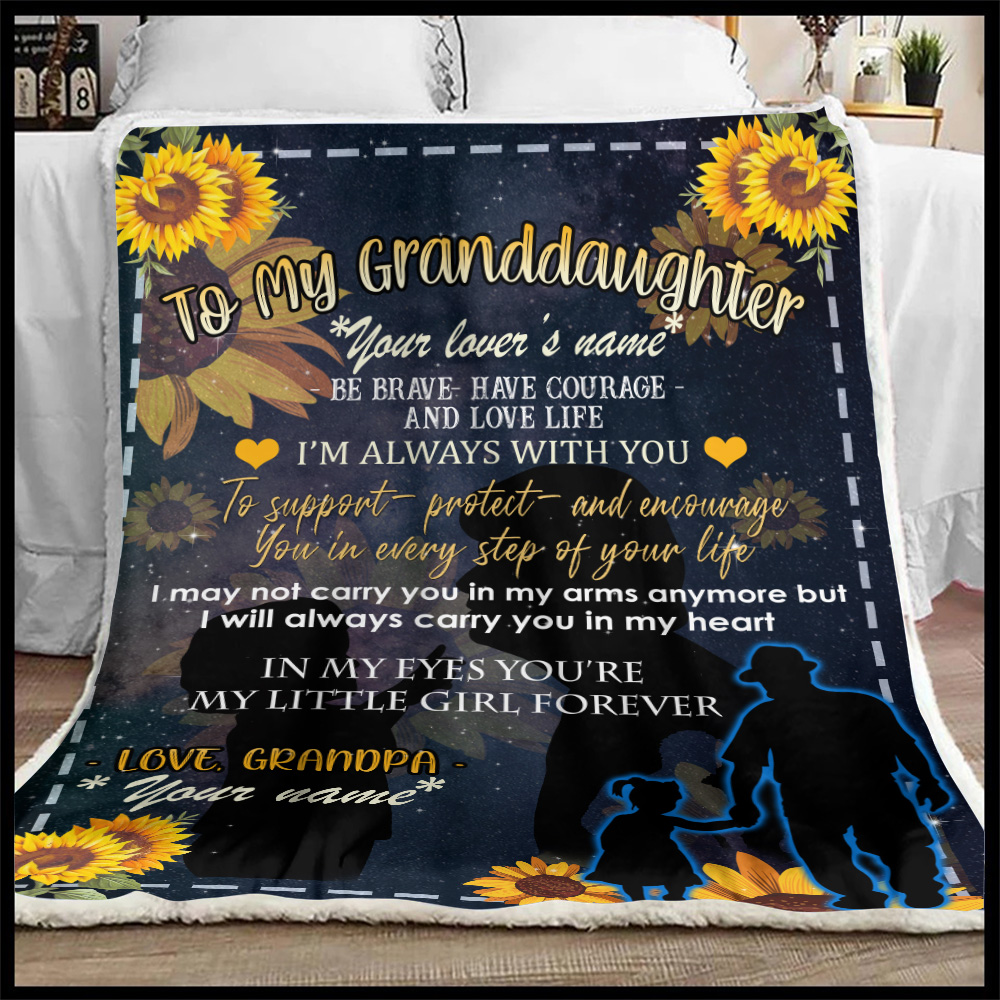 Personalized Fleece Throw Blanket To My Granddaughter Be Brave Have Courage And Love Life Pattern 3 Lightweight Super Soft Cozy For Decorative Couch Sofa Bed
