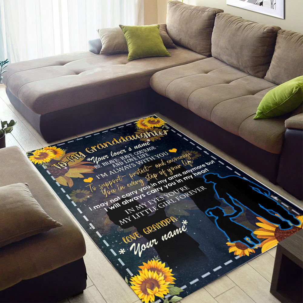Personalized Floor Area Rugs To My Granddaughter Be Brave Have Courage And Love Life Pattern 3 Indoor Home Decor Carpets Suitable For Children Living Room Bedroom Birthday Christmas Aniversary