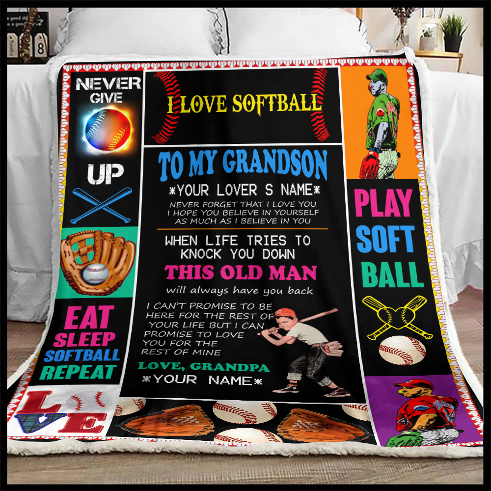Personalized Fleece Throw Blanket To My Grandson This Old Man Will Always Have Your Back Lightweight Super Soft Cozy For Decorative Couch Sofa Bed