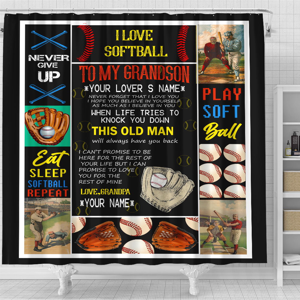 Personalized Shower Curtain 71 X 71 Inch To My Grandson This Old Man Will Always Have Your Back Set 12 Hooks Decorative Bath Modern Bathroom Accessories Machine Washable