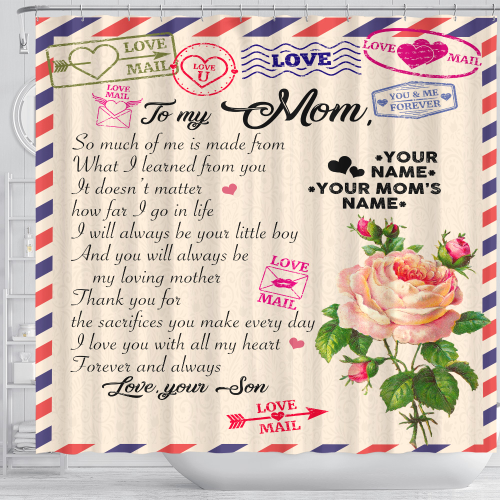 Personalized Lovely Shower Curtain To My Mom I Love You With All My Heart Pattern 1 Set 12 Hooks Decorative Bath Modern Bathroom Accessories Machine Washable