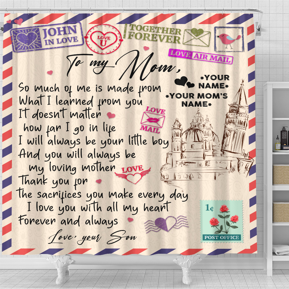 Personalized Lovely Shower Curtain To My Mom I Love You With All My Heart Pattern 2 Set 12 Hooks Decorative Bath Modern Bathroom Accessories Machine Washable