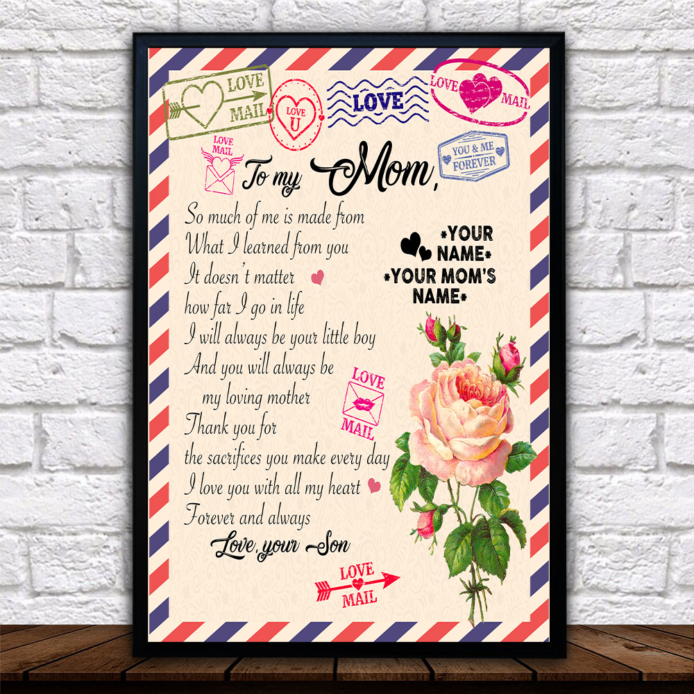 Personalized Lovely Wall Art Poster To My Mom I Love You With All My Heart Pattern 1 Prints Decoracion Wall Art Picture Living Room Wall