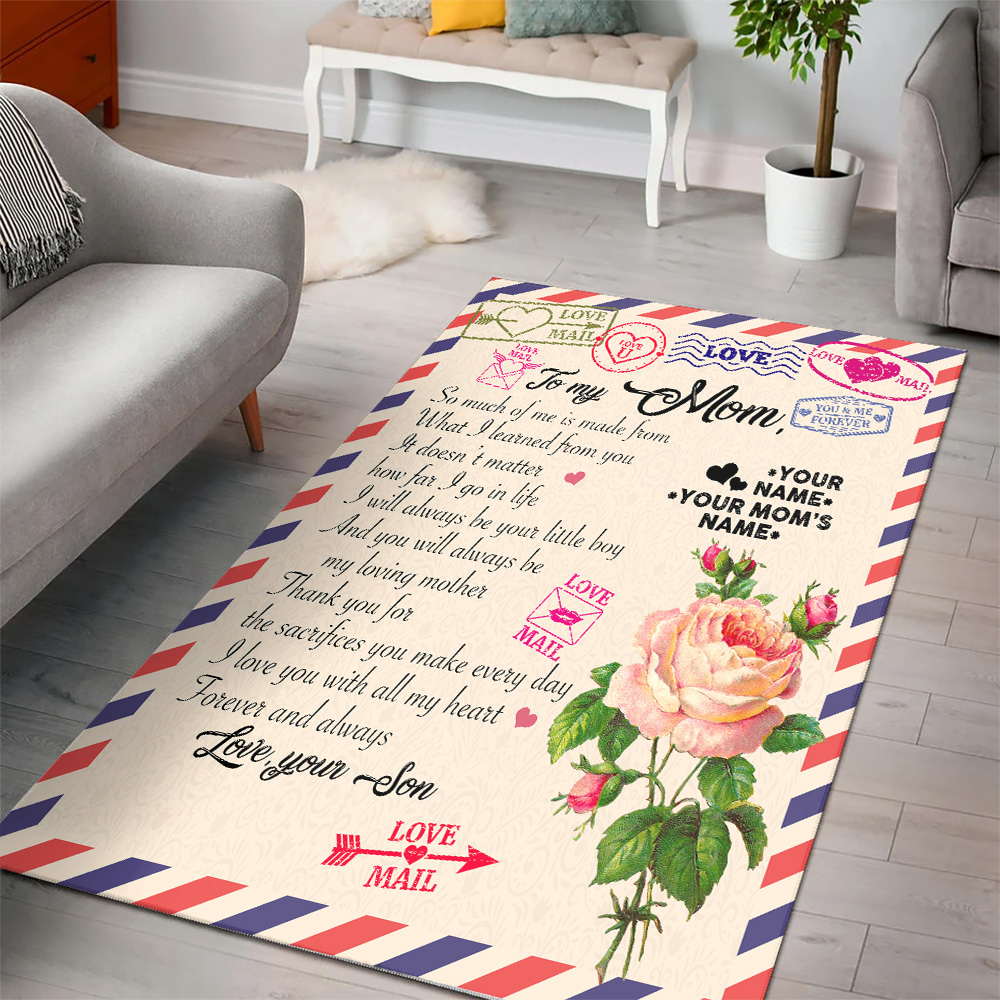 Personalized Lovely To My Mom I Love You With All My Heart Pattern 1 Vintage Area Rug Anti-Skid Floor Carpet For Living Room Dinning Room Bedroom Office