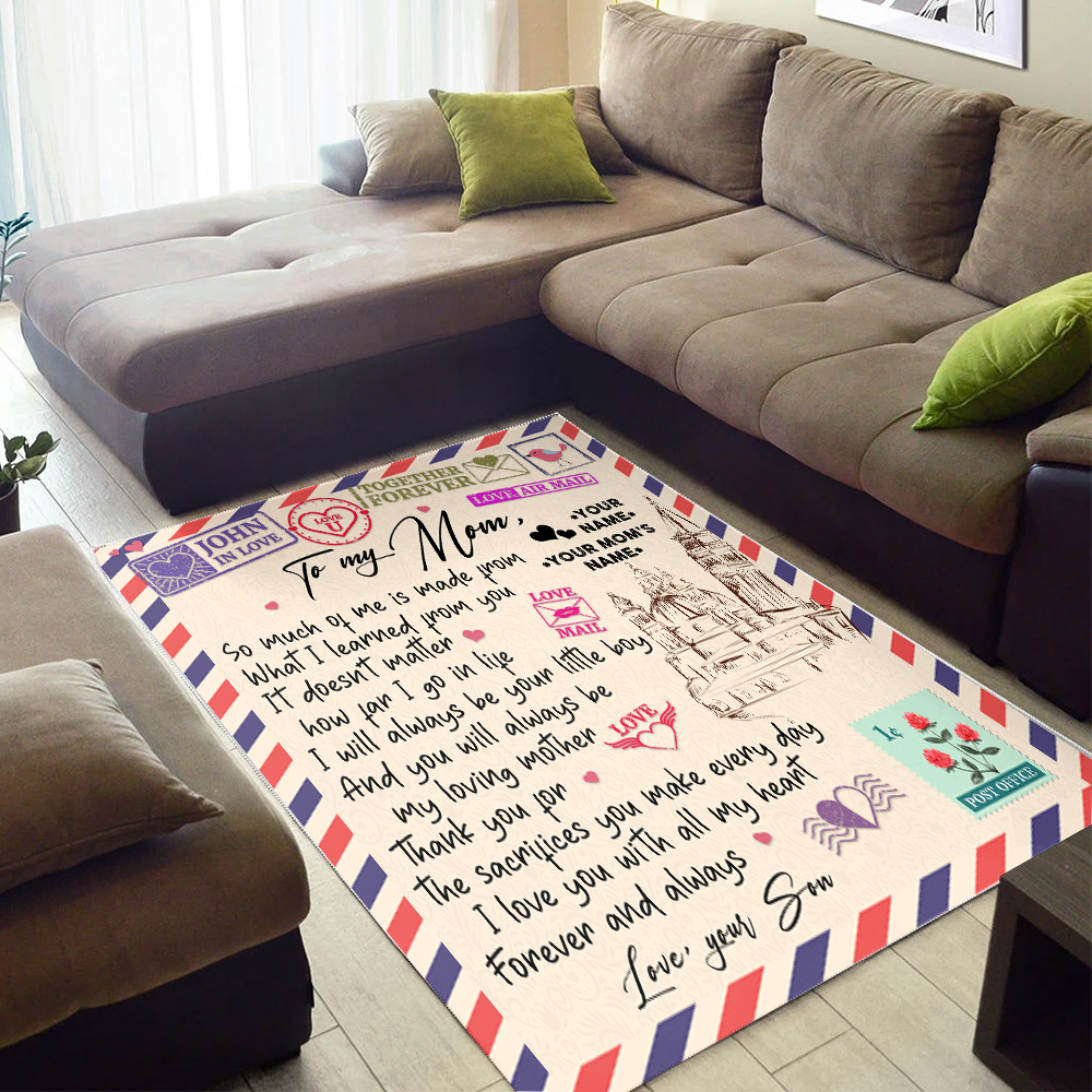 Personalized Lovely To My Mom I Love You With All My Heart Pattern 2 Vintage Area Rug Anti-Skid Floor Carpet For Living Room Dinning Room Bedroom Office