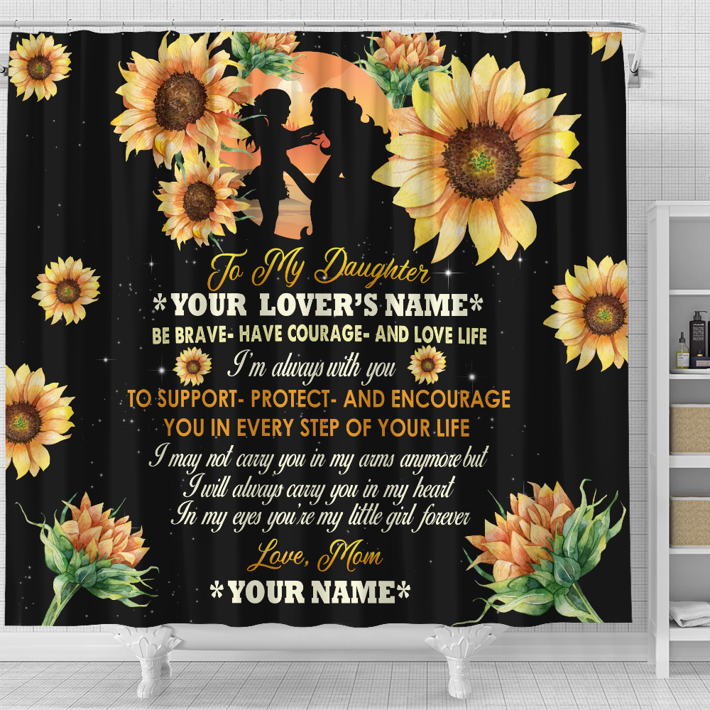 Personalized Shower Curtain 71 X 71 Inch To My Daughter To Support Protect And Encourage You In Every Step Of Your Life Pattern 3 Set 12 Hooks Decorative Bath Modern Bathroom Accessories Machine Washable
