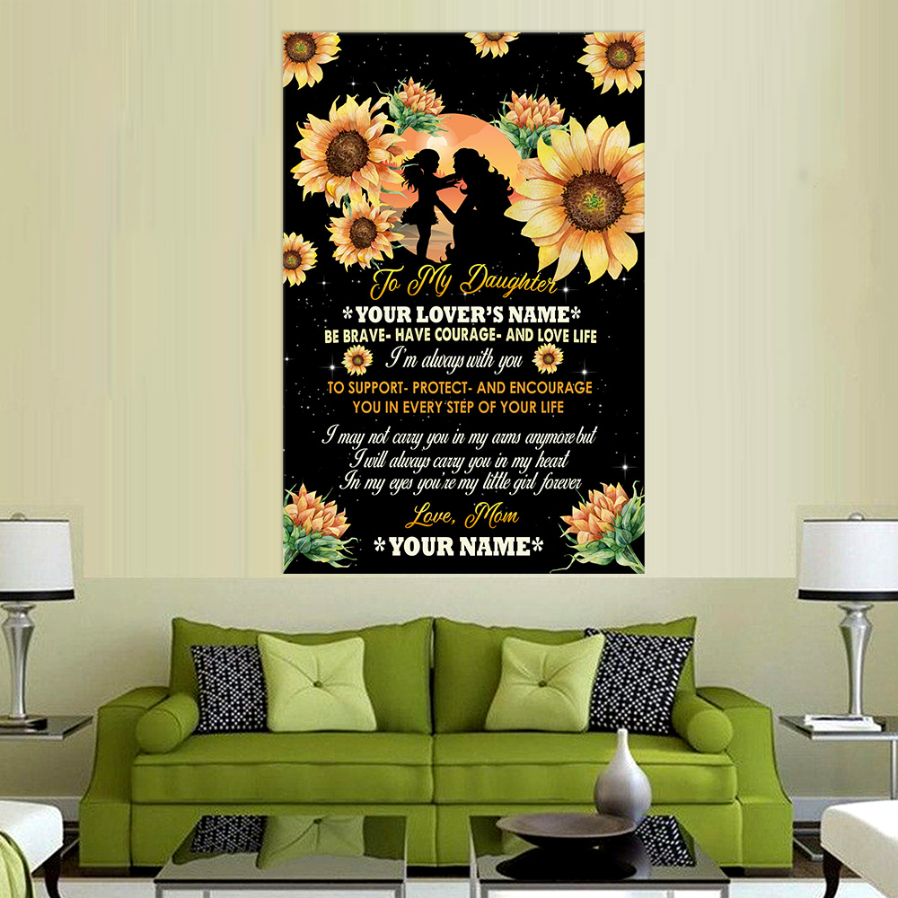 Personalized Wall Art Poster Canvas 1 Panel To My Daughter To Support Protect And Encourage You In Every Step Of Your Life Pattern 3 Great Idea For Living Home Decorations Birthday Christmas Aniversary