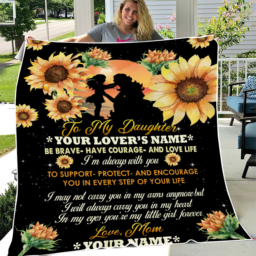 Personalized Fleece Throw Blanket To My Daughter To Support Protect And Encourage You In Every Step Of Your Life Pattern 3 Lightweight Super Soft Cozy For Decorative Couch Sofa Bed