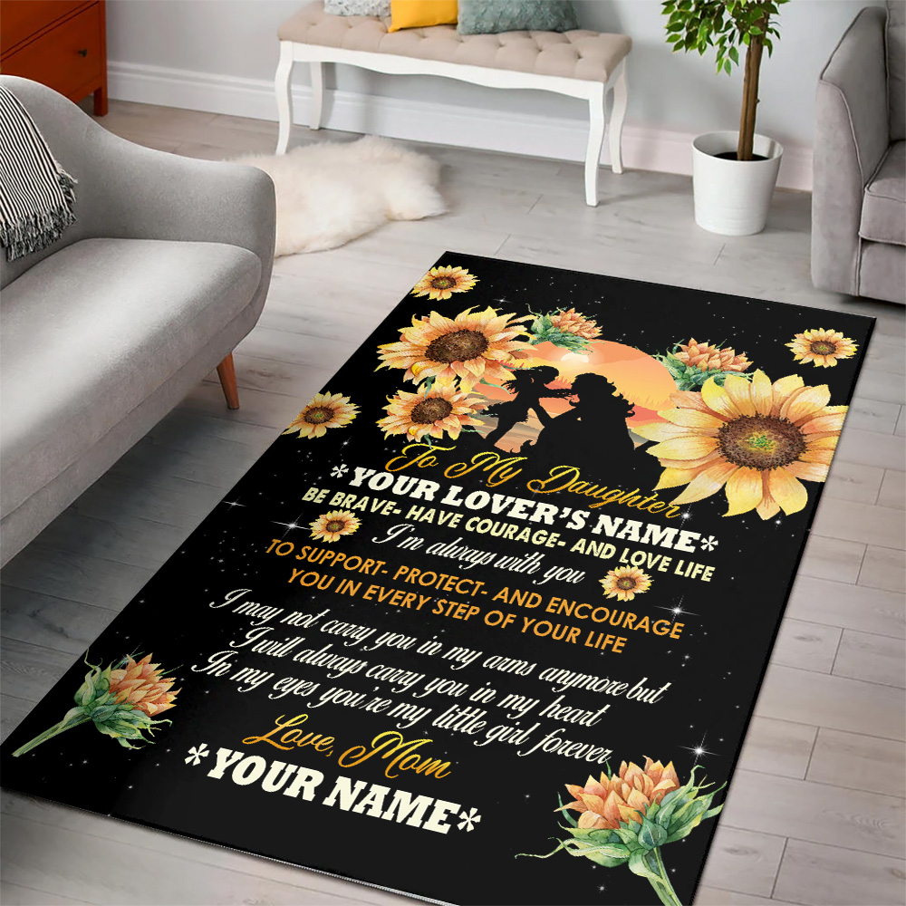 Personalized Floor Area Rugs To My Daughter To Support Protect And Encourage You In Every Step Of Your Life Pattern 3 Indoor Home Decor Carpets Suitable For Children Living Room Bedroom Birthday Christmas Aniversary