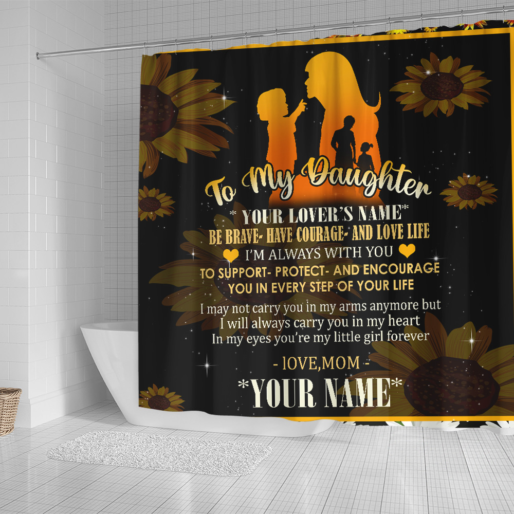 Personalized Shower Curtain 71 X 71 Inch To My Daughter To Support Protect And Encourage You In Every Step Of Your Life Pattern 2 Set 12 Hooks Decorative Bath Modern Bathroom Accessories Machine Washable