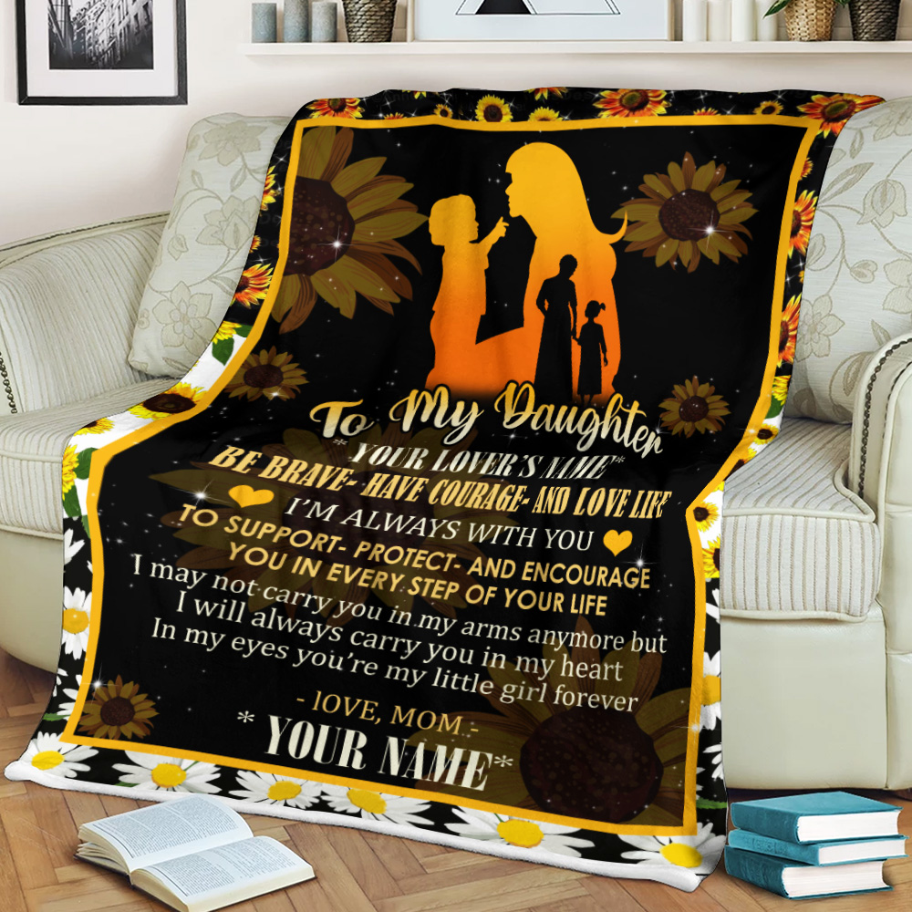 Personalized Fleece Throw Blanket To My Daughter To Support Protect And Encourage You In Every Step Of Your Life Pattern 2 Lightweight Super Soft Cozy For Decorative Couch Sofa Bed