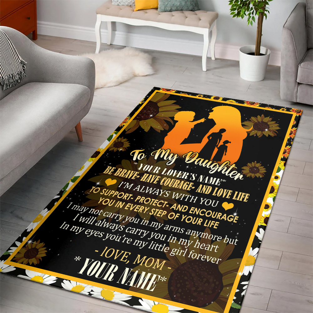 Personalized Floor Area Rugs To My Daughter To Support Protect And Encourage You In Every Step Of Your Life Pattern 2 Indoor Home Decor Carpets Suitable For Children Living Room Bedroom Birthday Christmas Aniversary