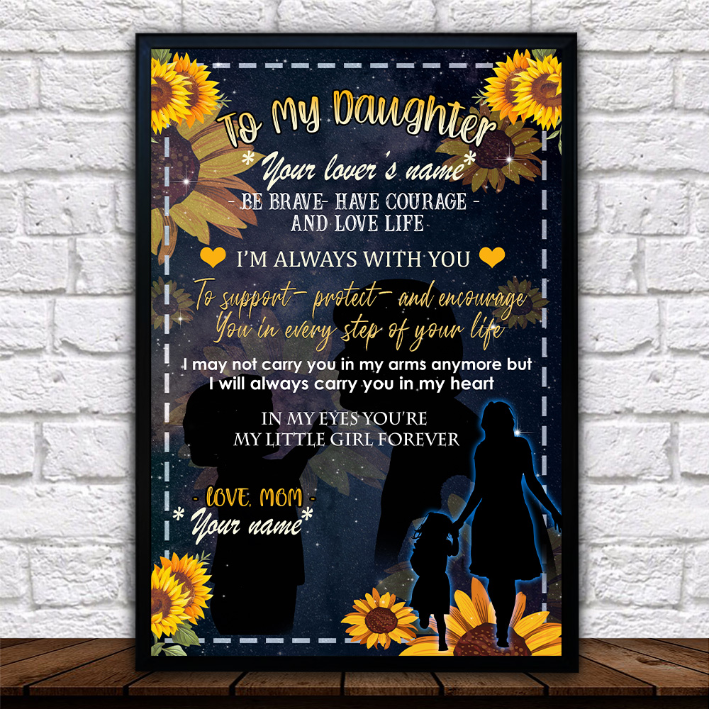 Personalized Wall Art Poster Canvas 1 Panel To My Daughter To Support Protect And Encourage You In Every Step Of Your Life Pattern 1 Great Idea For Living Home Decorations Birthday Christmas Aniversary